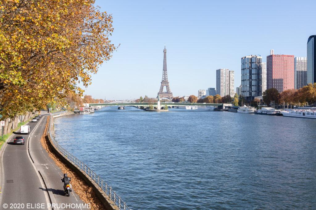 Eiffel Tower with the Seine in Paris 16